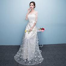 伴娘服女2019新款韩版连衣裙修身气质优雅主持生日宴会晚礼服长款