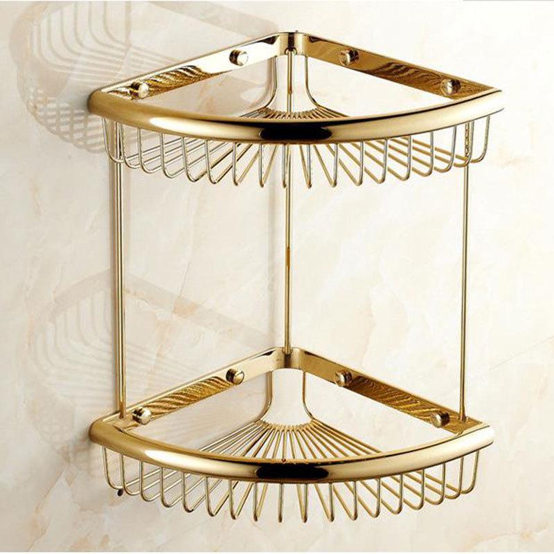 全铜欧式浴巾架双层三角架 卫浴挂件置物架 仿古毛巾架扇转角架