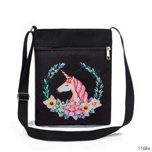 新款卡通独角兽打印斜挎包女 高品质双拉链小购物袋迷你手机袋