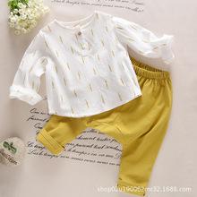兒童套裝18年秋季中小童棉麻套裝寶寶男女童日系樹葉套裝春秋衣服
