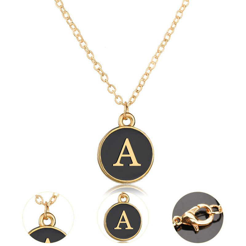 26 Letter 316 Stainless Steel Initial Alphabet Necklace Gold Plated Black Enemal