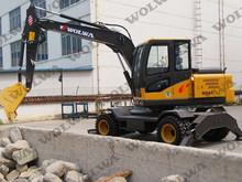 沃尔华小型轮式挖掘机885新款冷暖空调送大小斗抓木器破碎锤钎杆