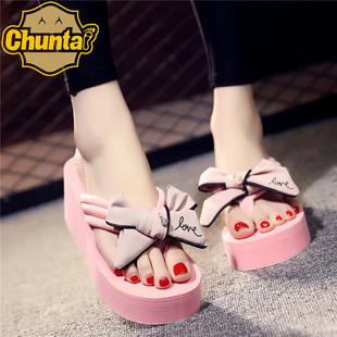 2018 summer handmade bowknot high-heeled flip flops women thick-soled non-slip beach shoes sandals and slippers wholesale