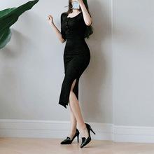 春秋連衣裙女打底包臀緊身連體包裙夏季修身中長款裙