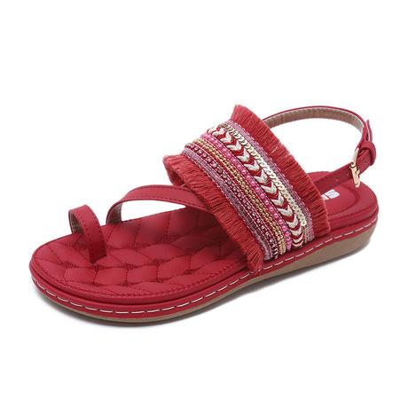 26-12 kẽm mạnh mẽ 2019 phụ nữ dân tộc sandal tua rua khóa lớn kích thước thoải mái giày phẳng bán buôn
