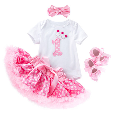 Baby birthday party dresses festival short sleeve cartoon cake dot puff skirt toddler shoe cover
