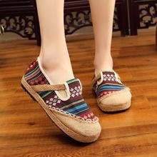 新款圆头棉麻民族风女鞋 夏季一脚蹬亚麻鞋透气时尚懒人平底单鞋