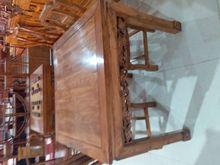 灵芝餐桌 老榆木餐桌方桌长方桌花梨色 红木色餐厅家具工厂直发