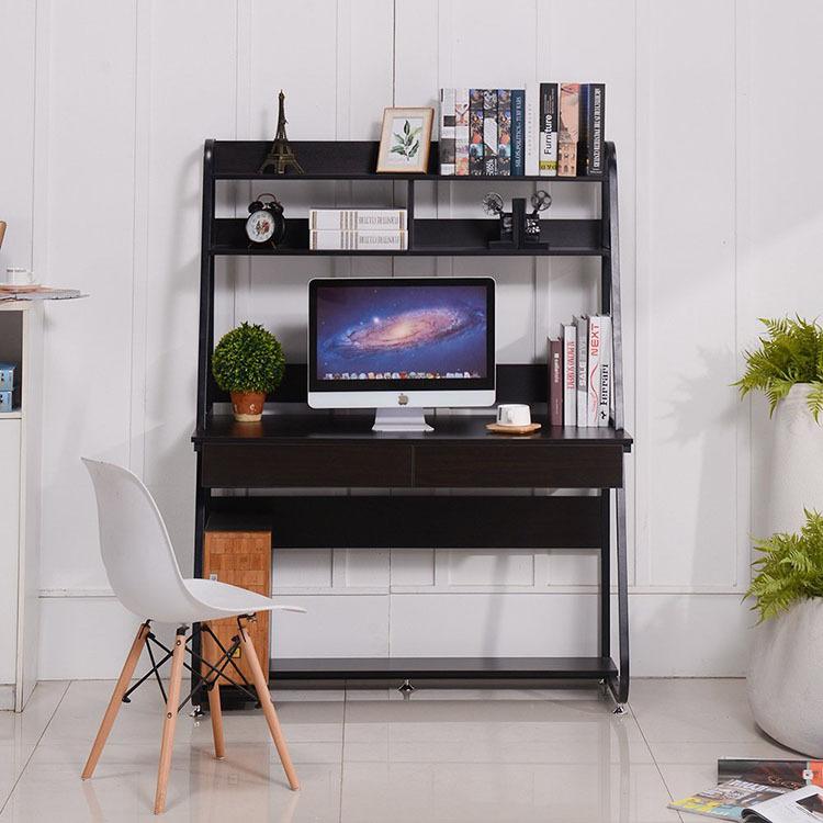工厂直销定制家用台式电脑桌现代学生钢木简易学习书桌带书架组合