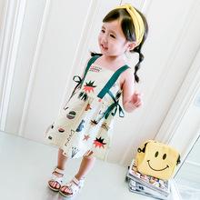 2018夏季新款童裝韓版女童時尚可愛五彩圖案吊帶連衣裙 一件代發