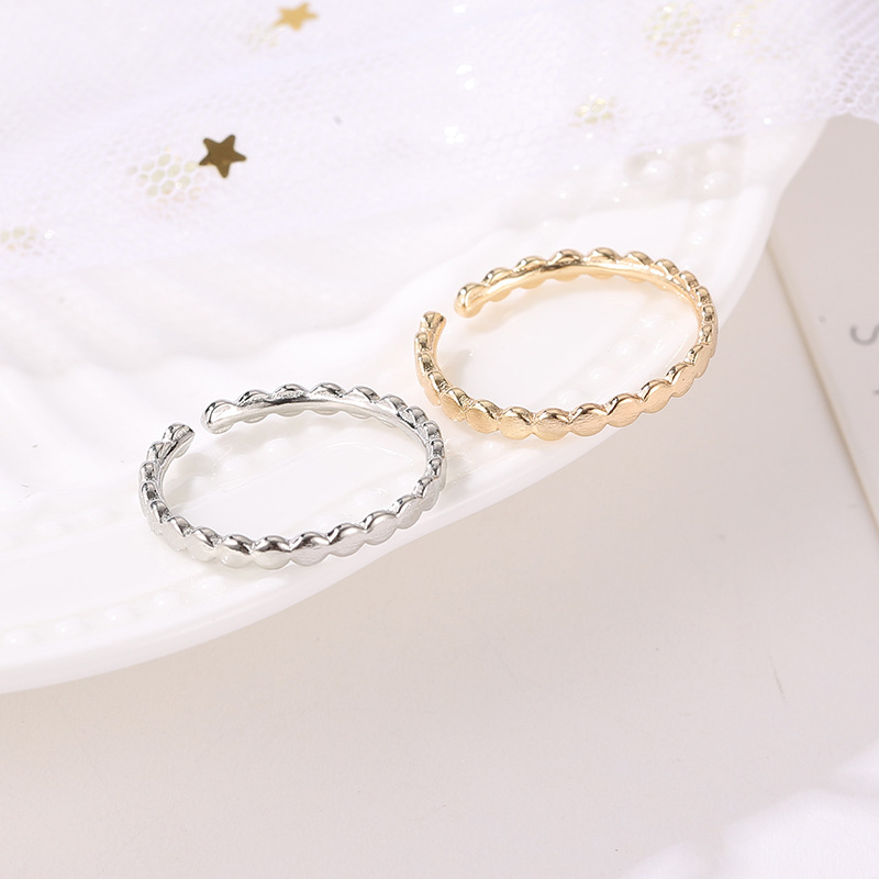 Korean fashion simple and exquisite hand jewelry geometric wave open ring women wholesale NHDP203081