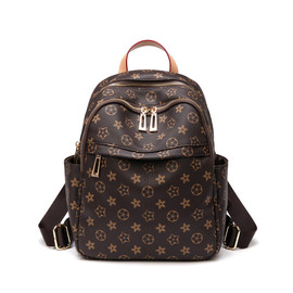 Autumn and winter large capacity trendy European and American fashion retro backpack large capacity schoolbag old flower leisure double shoulder bag woman