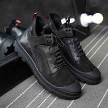 廠家加絨男士皮鞋新款休閑運動男鞋系帶真皮潮流棉鞋批發一件代發