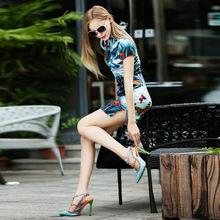 2015新款高端日常修身改良时尚立领复古短袖弹力真丝缎旗袍XF3035