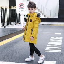 2018新款儿童棉衣韩版加厚中长款男童棉衣中大童羽绒棉服棉袄一件