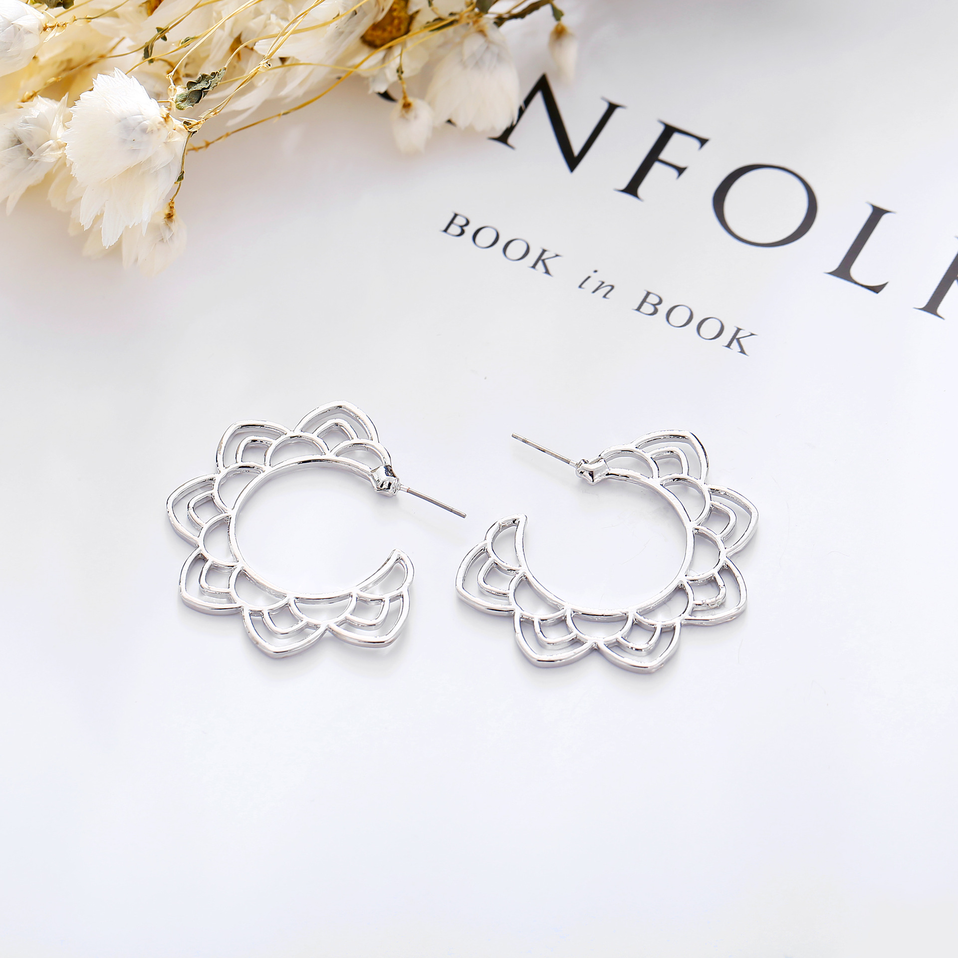 Alloy Fashion Flowers earring  (Alloy GEQ02-02)  Fashion Jewelry NHPJ0310-Alloy-GEQ02-02