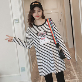 Maternity wear autumn long-sleeved t-shirt long section new spring and autumn large size loose wild striped shirt