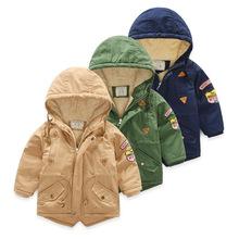儿童风衣外套 2018男童秋冬款加绒加厚棉衣外套保暖开衫外贸童装