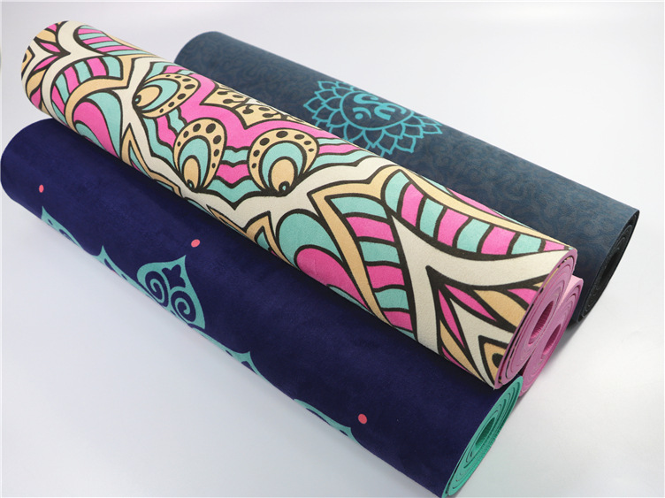 Ultra Thin Natural TPE Slip-resistant Yoga Mats Folding Fitness Mat High Temperature Suede Travel Printing Blanket 22