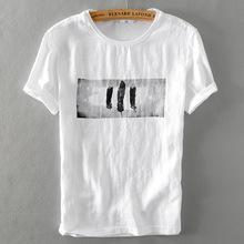 亚麻T恤男装2018新款亚麻衬衫圆领T白色印花衬衫一件代发6118