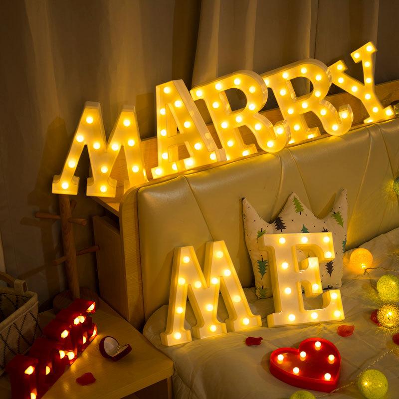 INS热销26个英文字母灯LED符号造型灯婚庆小夜灯生日求婚灯