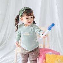 新款男女童長袖t恤秋兒童長袖秋季單層底衫童裝內衣坑條純棉純色1