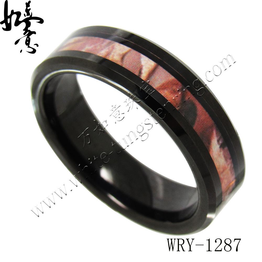 萬如意鎢金戒指 六寬批邊電黑鑲樹杈外貿時尚歐美女款飾品現貨