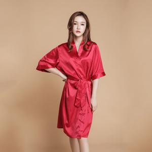 仿真丝纯色睡衣浴袍新款性感薄款结婚晨袍伴娘袍美容袍加大码