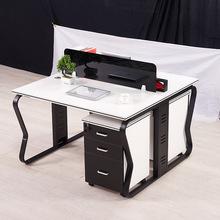 定制鋼架職員屏風桌 文件柜矮柜鐵皮辦公收納 鋼木電腦桌椅組合
