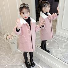 女童仿貂绒外套2019新款冬装儿童加厚毛呢女孩洋气中长款呢子大衣