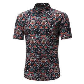 跨境男士夏季外贸沙滩短袖衬衫男式欧码修身夏威夷碎花3D印花衬衣