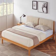 北欧实木软包床白橡木家具小户型卧室简约婚床纯实木床厂家直销