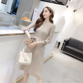 Spring and autumn mid-long round collar knitted dress autumn dress new fashion temperament small fragrance wind waist a skirt