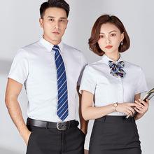 夏季職業裝女式短袖平紋男女同款正裝襯衫女夏工作服襯衣定制logo