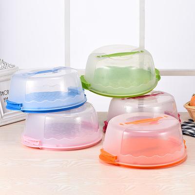 厂家直销大号圆形塑料蛋糕盒点心盒生日蛋糕盒透明环保pp烘焙工具