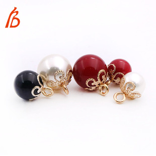 2021 new style small fragrance pearl button knit sweater button female cardigan button shirt button round hollow decorative buckle