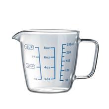 耐热透明玻璃量杯高硼硅牛奶杯带刻度微波炉量水杯透明刻度杯带盖