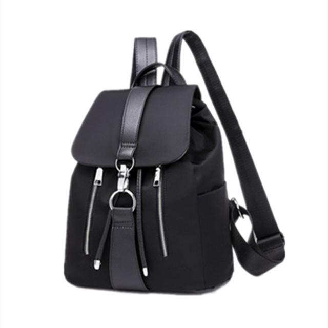 双肩包女新款时尚尼龙女士背包百搭简约锁扣单肩包初中生学生书包