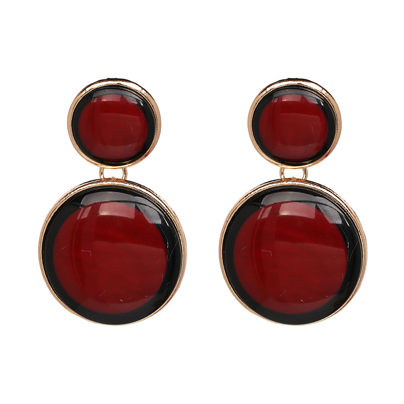 Plastic Fashion Geometric earring  (red) NHJJ4888-red