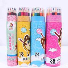 筒装彩色铅笔12色绘画套装批发儿童卡通小学生文具涂鸦绘图彩铅