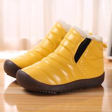 儿童雪地靴冬季童靴平跟防滑加绒防寒绒面童鞋高筒棉鞋时尚棉靴子