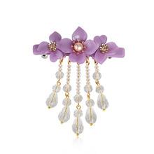 厂家直销 水晶复古典珍珠发卡一字弹簧夹顶夹复古花朵流苏发夹