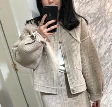 2019冬季新款   毛呢格子短款呢子大衣韩版气质羊毛双面呢套装女