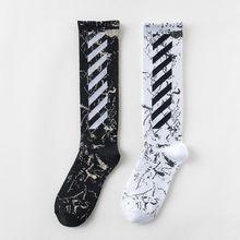 潮牌袜斜条纹滑板袜亚马逊跨境袜子棉质潮袜运动男女原宿袜子