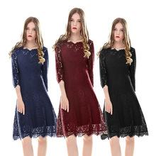 2020年女装蕾丝中袖时尚大气速卖通夏秋季欧美大牌爆款大摆连衣裙