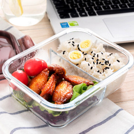 Citylong Glass Lunch Box Microwave Handy Box Separated Heat-Resistant Glass Bowl with Lid Lunch Box
