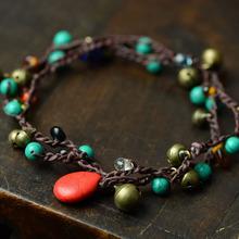 民族風手鏈多層編織手鏈原創手工串珠泰國蠟線松石復古個性配飾