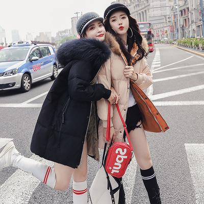 反季2018新款冬装羽绒服女中长款加厚时尚宽松面包服韩版超大毛领