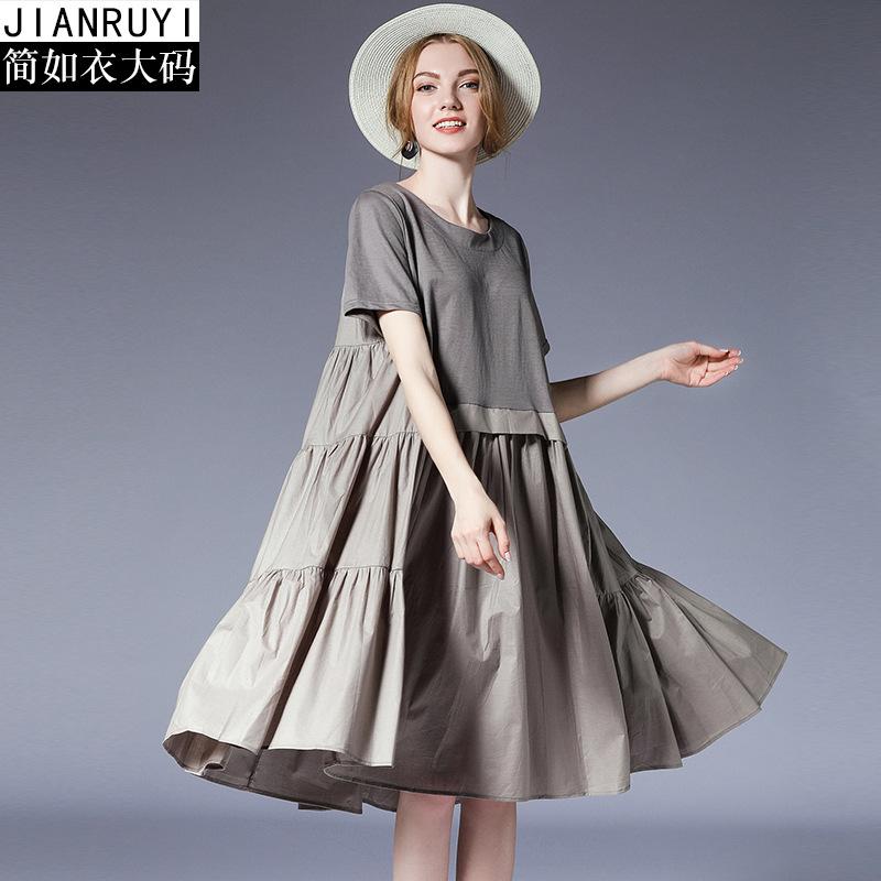 欧洲站大码女装2021夏装新款连衣裙女胖妹妹气质宽松拼接裙子6982