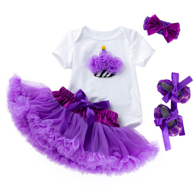 Baby birthday party dresses cartoon Dress Purple puffy skirt Baby dresses birthday princess skirt